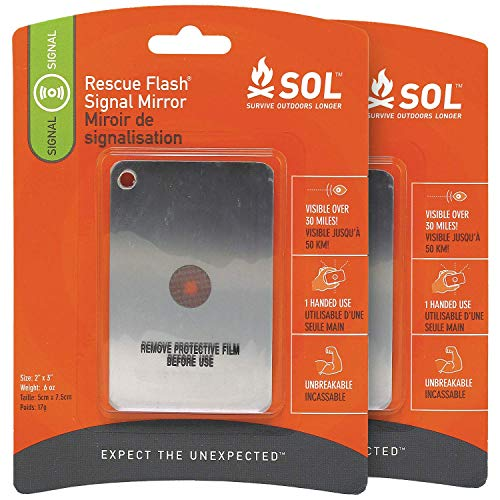 S.O.L. Survive Outdoors Longer S.O.L. Rescue Flash Emergency Mirror (Pack of 2)