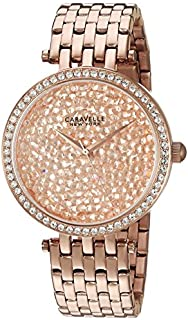 Caravelle New York Women's 44L222 Swarovski Crystal  Rose Gold Tone Watch