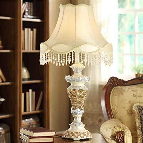 Lámparas de mesa, personalidad Lámpara de la sala de estar de lujo simple americana, Dormitorio Dormitorio Lámpara de noche retra tallada, luz de la noche de la resina de la sombra Lectura de la noche