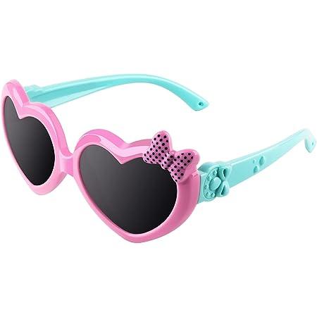 CGID gafas de sol polarizadas de goma suaves en forma de corazón con marco flexible 100% Protección UV400 para niños de 3-10 años, K78