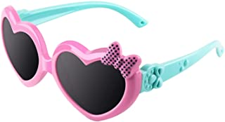 CGID Mjukt gummi barn söta hjärtformade polariserade solglasögon flexibel ram 100 % UV400-skydd för barn pojkar och flicko...