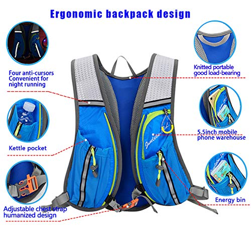 ENOUBAIL Hydration Pack Hydration Vest Lightweight Breathable Water Bottle Backpack for Outdoors Running Cycling Climbing with 1.5L Hydration Bladder(Black)