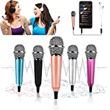 Mini Microphone,Tiny Microphone, Portable Microphone/Instrument Microphone for Man/Pet Voice Recording Shouting and Sing,with Mic Stand and Box (Rose Gold)