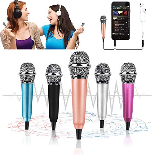 Mini Microphone, Tiny Microphone, Karaoke Microphone/Pet Sniffing Microphone With mic stand for Man/Pet Voice Recording Shouting and sing (Rose Gold)