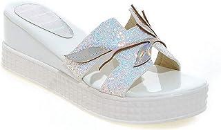 BalaMasa Womens Assorted Colors Fringe Lights Leather Slides Sandals ASL05718