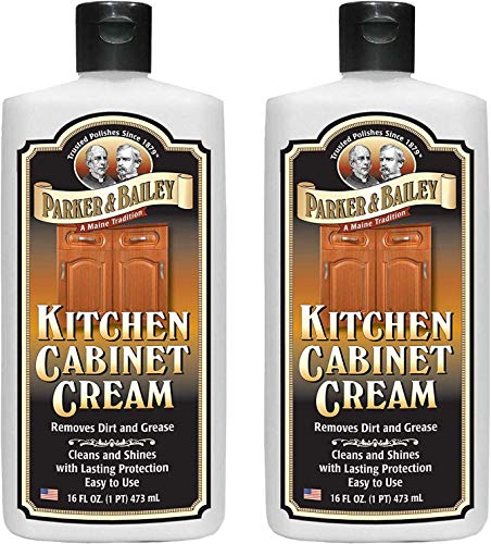 Best cabinet cleaner - Parker and Bailey Kitchen Cabinet Cream - Wood Cleaner and Furniture Polish- Kitchen Cleaner and Cabinet Grease Remover- Wood Polish- 16 Ounce (2)