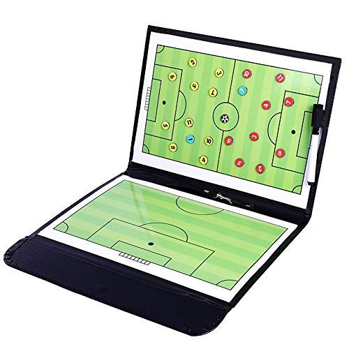 Ranrong tactisch whiteboard, opvouwbaar, magnetisch, voor trainers, voetbaltraining met stiften en gum (grootte: 53 cm x 31 cm)