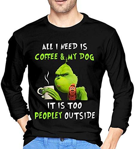 Pzrruot Alles wat ik nodig heb is koffie en mijn hond Het is te veel mensen buiten Grinch Kerstmis Unisex Sweatshirts