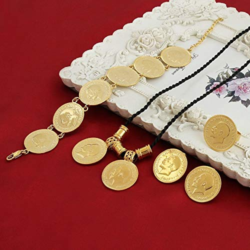 VAWAA Moneda De Oro Etíope Afican Collar Colgante Pulsera Pavo Mexicano Moneda Collares Oro Color Medio Oriente Joyería
