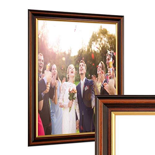 PHOTOLINI Bilderrahmen 30x42 cm/DIN A3 Antik Dunkelbraun mit Goldkante Massivholz mit Glasscheibe inkl. Zubehör