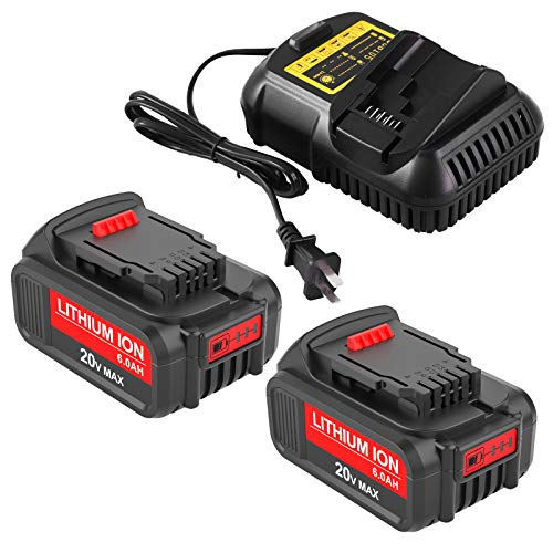 2 Packs 6.0Ah DCB206 Battery and DCB105 Charger for 12V ~ 20V MAX Lithium-ion Battery Compatible with DCB200 DCB201 DCB203 DCB204 DCB205 DCB207 DCB120 DCB127 Batteries