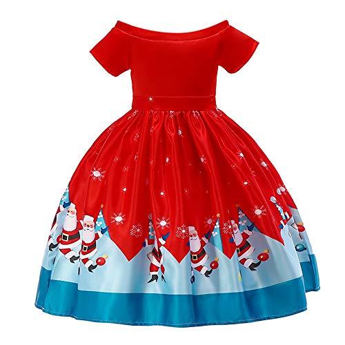 Kobay Kinder Baby Mädchen Schulterfrei Weihnachten Santa Drucken Prinzessin Kleider Outfits(4-5T,Rot)