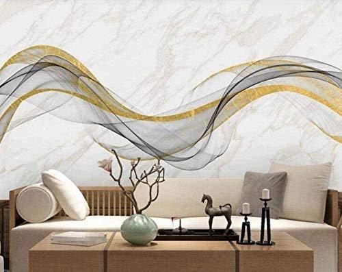 Lovemq Fototapete 3D Effekt Tapete Abstrakter Goldener Linienlandschaftsmarmor Vliestapete 3D Tapeten Wanddeko Wandbilder Wohnzimme-240X165Cm