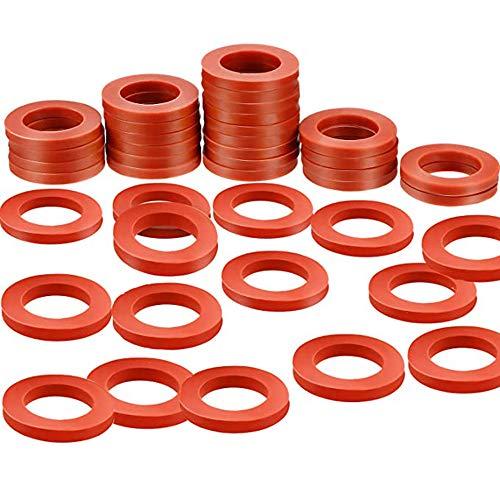 Ylinwtech 40 Piezas Arandelas de Goma de Silicona Juntas tóricas Juntas de Silicona de Color Rojo Suave Accesorios,Manguera de Ducha,para Manguera de Jardín de 3/4 Pulgadas y Grifo de Agua