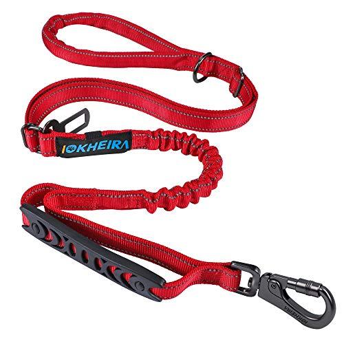 Iokheira Hundeleine,Verstellbare 1/1.5m Leine für Hunde mit stabilem Karabinerhaken,Bequemen Gepolsterte Griff und Reflektierende Fäden,Bungee Führleine mit Verkehrssteuergriff (Rot)