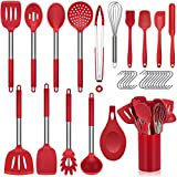 Vemingo Kitchen Utensil Set 31pcs Silicone Cooking Set, Kitchen Gadget Set with Cooking Tools Turner Spoon Spatula Tongs Skimmer Nonstick Heat Resistant Cookware with Holder and 15 Hooks - Red