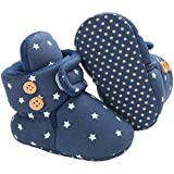 Tcesud Unisex Baby Boys Girls Cozy Fleece Winter Warm Snow Boots Knit Soft Fur Newborn Infant First Walkers Slippers Shoes(0-6 Months,Deep Blue)