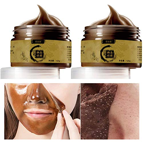 Herbal Mask Cream Blackhead Remover Peel off Mask,Deep Cleansing Transitional Herbal Ginseng Black Head Removal Peel Off Masker 120g (2pcs)