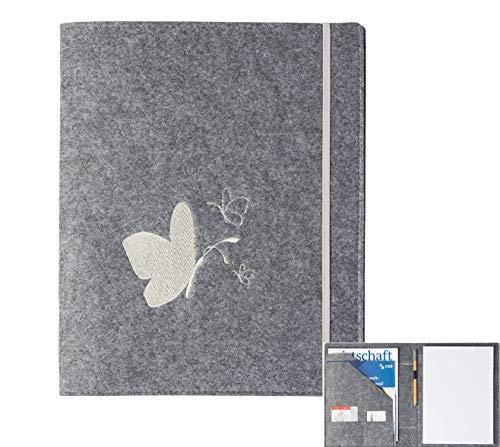 Schreibmappe 'Schmetterling' aus Filz (grau, Farbe wählbar), Konferenz-Mappe für Block, Dokumente, Blätter, Visitenkarten, Stifthalter