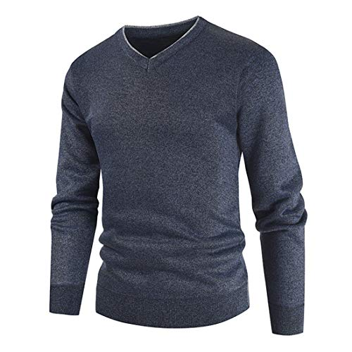 YUPENG Men's Pullover V-Neck Sweater Easy-Care and Breathable Sports and Business Pullover with V-Neck Men's Sweatshirt XL