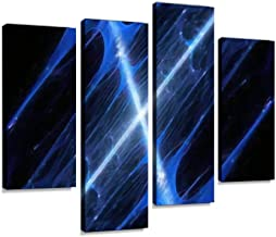 Cross Shaped Blue Glowing Fractal, Computer generated Abstract, 3D Canvas Wall Art Hanging Paintings Modern Artwork Abstract Picture Prints Home Decoration Gift Unique Designed Framed 4 Panel