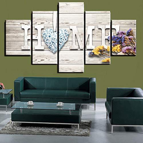 5 Panel muur 5 stuk HD Print schilderij Sweet Home en lavendel decoratieve schilderijen op Canvas Wall Art voor Home Decorations muur,With frame,30x50/70/80cm
