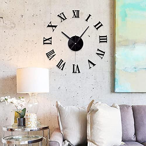 Zhihui Moderno reloj de pared grande – 45 cm/60 cm/70 cm estilo simple reloj de pared moderno salón – 3D espejo adhesivo reloj de pared reloj para decoración casa, restaurante, oficina y regalo