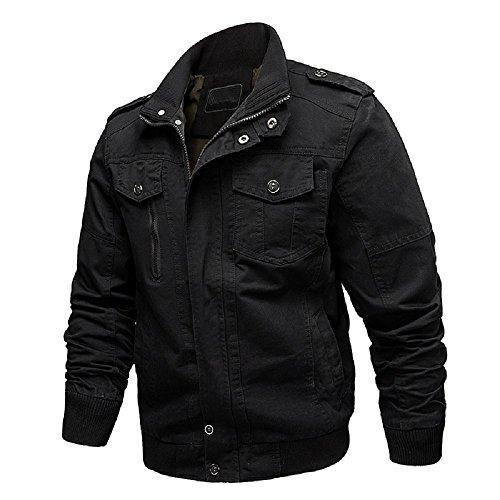 Dwar Men's Casual Long Sleeve Full Zip Jacket with Shoulder Straps (Large, 88-Black)