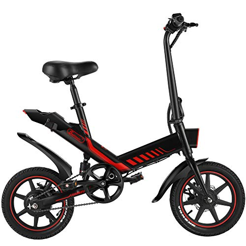 Electric Bicycle, Sailnovo 14'' Folding E-Bike for Adults and Teenagers 350W Motor Electric Bike with Removable 36V 10Ah Lithium-Ion Battery 3 Working Modes