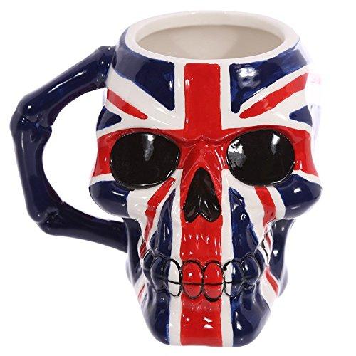 Puckator MUG218 Mug en céramique MUG218-design crâne et Drapeau Britannique, Bleu/Blanc/Rouge