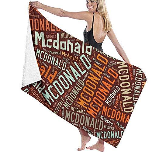 chillChur-DD Bath Towel Mcdonald-Asciugamano da bagno di cognome Americano,telo da bagno,asciugamano Turco da spiaggia in spugna per Piscina e Palestra