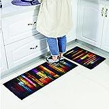 OUNONA Fußmatte Deko Küche Teppiche rutschfest waschbar Bodenmatte 40 x 60 cm (Bunte Holz) - 5