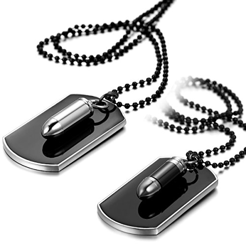 JewelryWe Schmuck 2pcs Herren Halsketten, Gewehrkugel Geschoss Militärischen Erkennungsmarken Armee Stil Dog Tag Anhänger mit 70cm Kette, Schwarz Silber, kostenlos Gravur