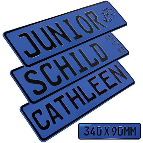 1 Stück Kennzeichen Junior-Schild 34cm x 9cm Bohrung Farbwahl Wunschtext Wunschprägung Muster Datum Namenskennzeichen Bohrung / Saugnäpfen Namensschild Bobbycar Kettcar FUN Schild in Blau