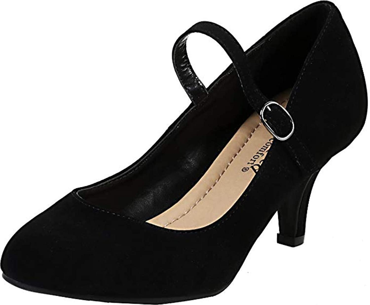 City Classified Comfort Women's Kirk Mary Jane High Heel,Black Nu,11