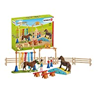 Authentic High Quality Role Play Pony Set including 2 horses, 1 rider, exciting obstacles and paddocks. Detailed And Lovingly Hand Painted Pony Figure Highly collectible toy for children and perfect for a Birthday gift, Party gift and Christmas gift....