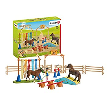 Schleich Farm World Pony Agility Training 41-piece Horse Playset for Kids Ages 3-8  Brown