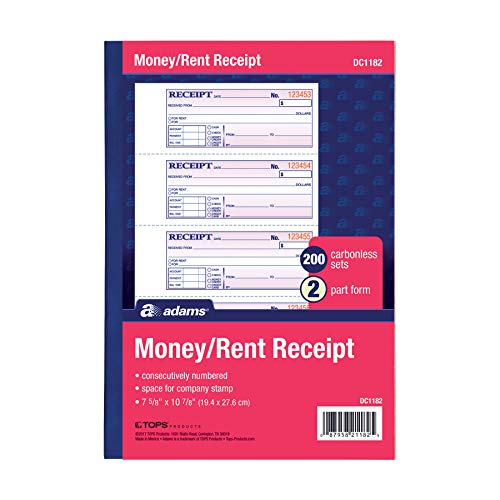 Adams Money and Rent Receipt Book 2-Part Carbonless WhiteCanary 7-58 x 10-78 Bound Wraparound Cover 200 Sets per Book 4 Receipts per Page DC1182