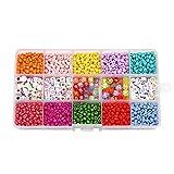 NOLOGO Gxbld-yy 1set corazón de los Granos Letra Colorida y elástico Hilo joyería Que Hace Fuentes Pendientes Kits Populares Pulsera de DIY Que Hace Kits (Color : Candy Color)