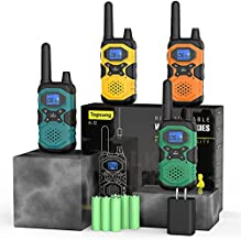 4 Pack Walkie Talkies Long Range Rechargeable Walkie-Talkies for Adults - 2 Way Radios Walkie Talkies Long Distance USB Work Walkie Talkies with Headsets NOAA Alert 4x4500mAh Batteries Pouches Lanyard
