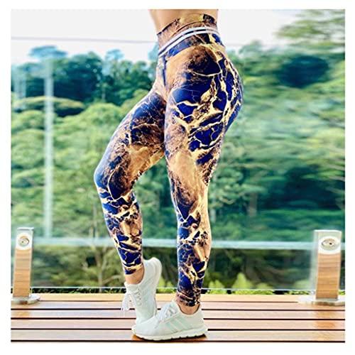 QIFFIY Pantalones de Yoga Mapa por satélite Impresión Pantalones de Yoga para Mujer Levantamiento de talles Humedad Mojado Deportes Fitness Pantalones Hips Toggings (Color : A, tamaño : XXL-Large)