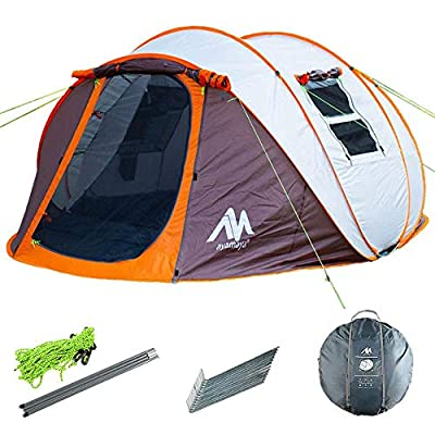 ayamaya Pop Up Tents with Vestibule for 4 to 6 Person - Double Layer Waterproof 3 Season Easy Setup Big Family Camping Tent - Ventilated Mesh Windows Quick Ez Set Up Dome Popup Tents (Khaki)