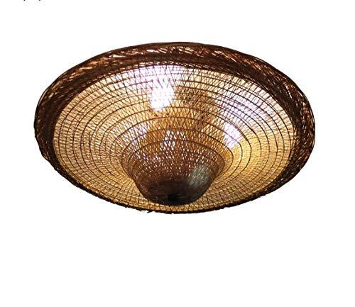 Lámpara De Techo Empotrada Lámparas De Mimbre De Bambú Rattan Sombrero De Paja Pantalla De Techo Lámpara De País Rústica Industrial Vintage Retro Restaurante Cocina Habitación