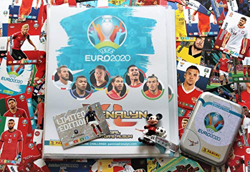XL Panini Adrenalyn Euro 2020 Sammelmappe + 100 Verschiedene Karten inklusive 20 Sonderkarten + Mini Tin Sammeldose leer + Disney Fussballfigur
