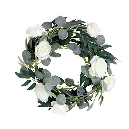 Artificial Eucalyptus Garland and White Head Roses Willow Leaves 1 Strands Faux Silver Dollar Eucalyptus Hanging Leaf Garland Faux Silk Eucalyptus Plants roses Wedding Party Arch(2m)