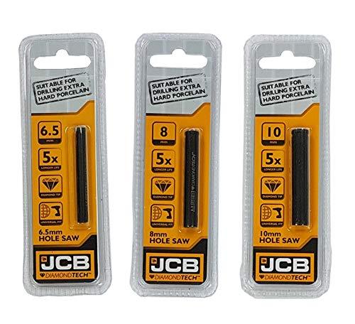 JCB - Juego de sierra de corona DIAMONDTECH de 3 piezas - Incluye sierras de corona con punta de diamante de 6,5 mm, 8 mm y 10 mm