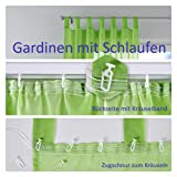 2er-Pack Gardinen Transparent Vorhang Set Wohnzimmer Voile Schlaufenschal mit Bleibandabschluß HxB 175x140 cm Apfelgrün, 61000CN - 9