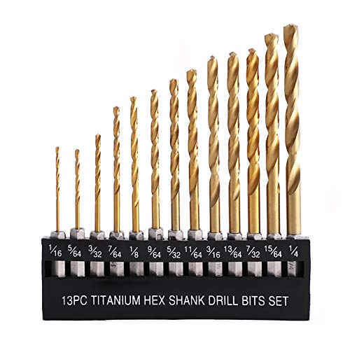 COMOWARE Titanium Twist Drill Bit Set - 13 Pcs Hex Shank High Speed Steel for Wood Plastic Aluminum Alloy, Quick Change, 1/16