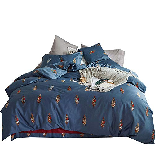 MKXI Home Duvet Cover Set Button Cloure Vintage Print Quilt Cover Set Blue King Bohemian Leaves Floral Pattern Reversible Cotton Luxury Bedding Collection