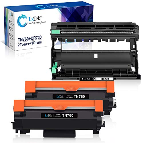 LxTek - Cartucho de tóner compatible con impresoras Brother TN760 TN-760 DR730 DR-730 para usar con HL-L2350DW HL-L2395DW HL-L2370DWXL (2 cartuchos de tóner, 1 unidad de tambor, 3 unidades)